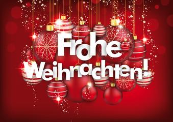 Frohe Weihnachten rote glitzerne Weihnachtskugeln