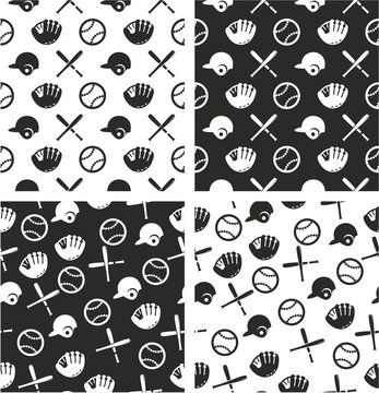 Baseball Aligned & Random Seamless Pattern Set