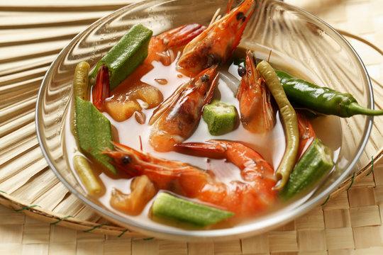 Sinigang Na Hipon. (Prawn soup). Traditional Filipino dish