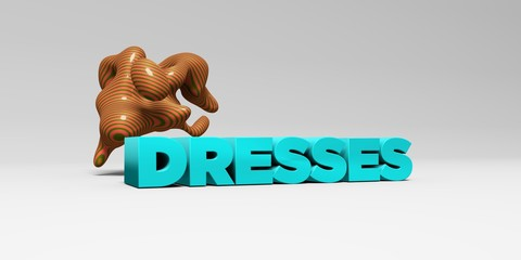 DRESSES - 3D rendered colorful headline illustration.  Can be used for an online banner ad or a print postcard.