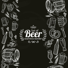 Vertical seamless borders of beer icons on black background