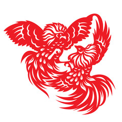 Red paper cut a rooster chicken gamecock zodiac symbols