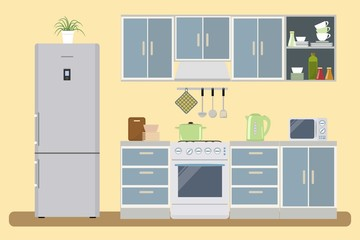 Kitchen interior vector illustration. There is a furniture of a gray-blue color, a refrigerator, a stove, a microwave and other objects in the picture