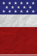 Flag of USA with old paper background. high contrast texture