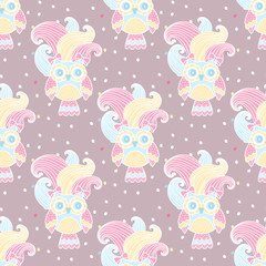 Seamless pattern with owls in love on a pink background