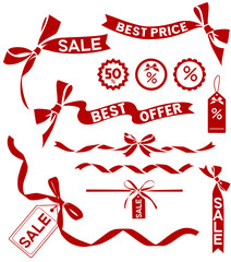 Vector sale set. Decorative elements, bow and ribbon silhouettes for sale design.