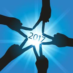 2017 - carte de vœux - succès - mains