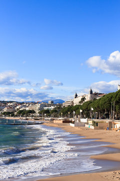 City of Cannes - beach and croisette in November