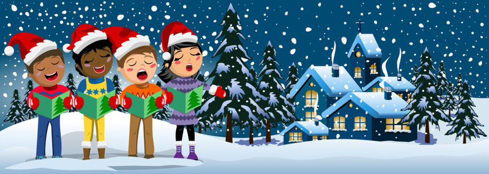 Multicultural kids wearing xmas hat singing Christmas carol banner