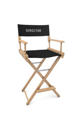 Film director's chair isolated on white. 3D rendering