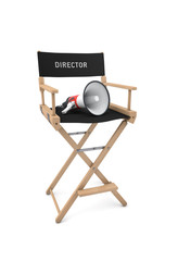 Film director's chair with megaphone isolated on white. 3D rende