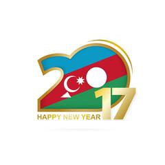 Year 2017 with Azerbaijan Flag pattern. Happy New Year Design