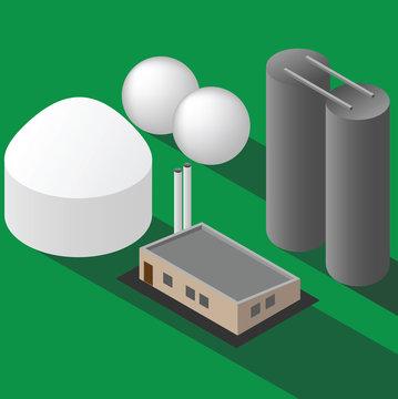 Biogas plant isometric vector