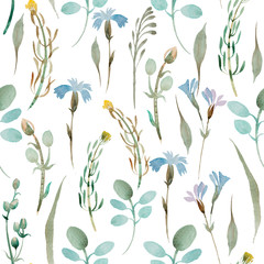 pattern of wildflowers and leaves on white background