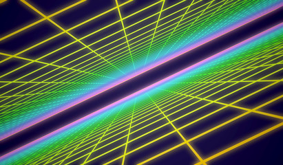 3D Illustration - Colorful retro grid background