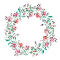 Wreath of small pink roses