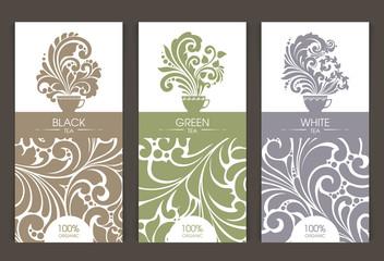Vector set of templates packaging tea
