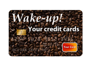 Wake up your credit cards with coffee beans as a background on the cardit card. This is a photo illustration combining photographs with graphics and is free of copyright. These images of credit cards