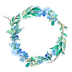 romantic wreath of blue flowers painted in watercolor