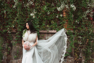 young bride  spends free  time on nature