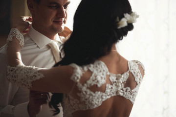 young groom and his bride spends time together
