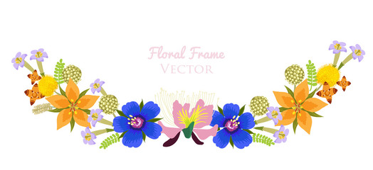 Beautiful Flower Vector Frame Background. Flower Garlands Isolated On White. Stylish Floral Vector Garlands.