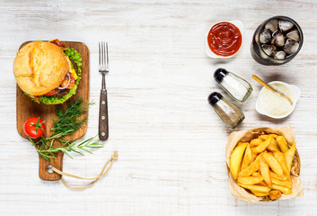 Burger and french Fries with Cola on Copy Space