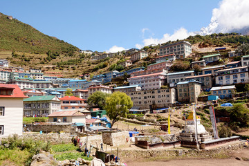 View of himalayan mountain village Namche Bazaar. Solukhumbu District, Sagarmatha National Park, Nepal