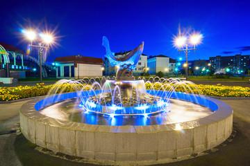 Fountain with fish Sturgeon in the evening  illumination . Langepas .