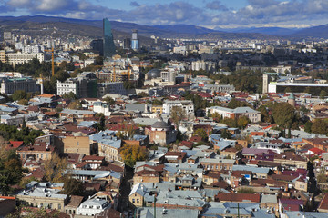 Tbilisi city center aerial view from Narikala Fortress, Georgia