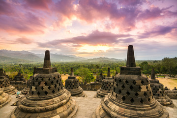 Foto op Canvas Indonesië amazing sundown at borobudur temple, indonesia