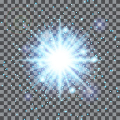 Light blue background. Glow vector. Lens flare. Sun rays. Illustration of a transparent backdrop.