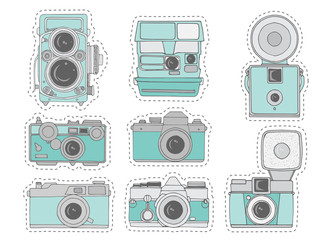 Colorful retro camera set. Hand drawn vintage photocameras set with cute patterns. Vector illustration. Cute retro camera stickers in cartoon style
