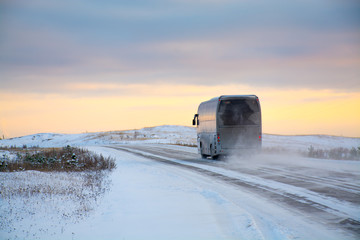 Bus driving on winter roads