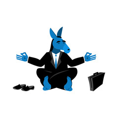 Blue Donkey Democrat meditating. Symbol of USA political parties