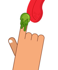 Booger on finger. Tongue licking snot. Eat snivel. Green nasty w