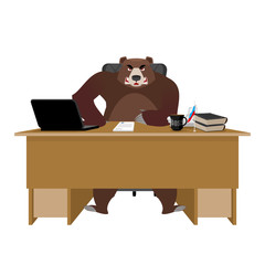Bear sitting in an office. Russian boss at table. Businessman fr