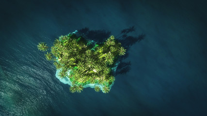 tropical island 3d rendering top view