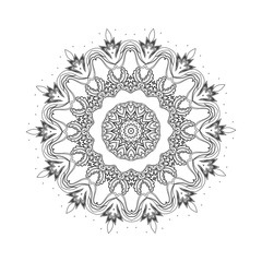 Round mandalas in vector. Graphic template for your design. Decorative retro ornament. Hand drawn background with flowers.