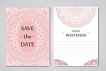 Wedding card collection. Template of invitation card. Decorative greeting design for thank you card, save the date card, mother day.