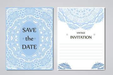 Template of wedding cards. Round oriental lace ornament with mandala. Decorative greeting design for thank you card, save the date card, mother day.