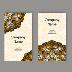 Business cards collection. Ornament for your design with lace mandala. Vector background. Indian, Arabic, Islam motifs.