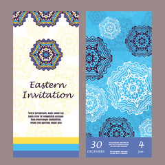 Retro hand-drawn card with mandala. Vintage background with place for text. Can be used for invitation, banner, others cards. Christmas invitation cards for your design