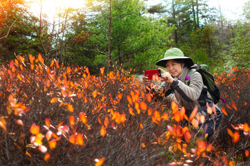Mature asian woman hiking with camera taking picture of nature