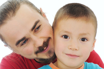 Happy father and son, happy family, isolated on white