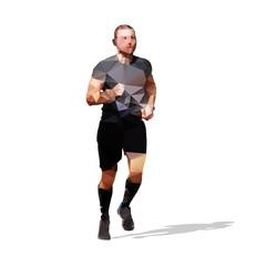Polygonal runner. Abstract geometrical illustration od running m