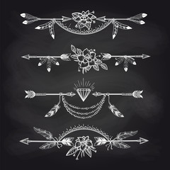 Chalk boho style dividers with flowers arrows and dimond on blackboard. Vector illustration