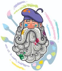 Artist Portrait / Cartoon portrait of painter with big beard.