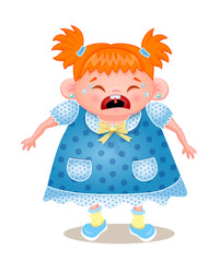 Ginger Girl Crying, Vector Illustration On White Bbackground