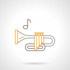 Brass wind instrument flat line vector icon